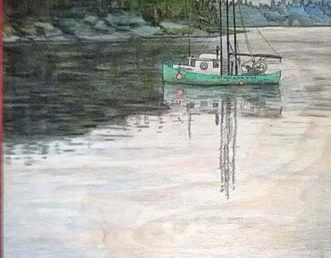 Quadra Island boat, watercolour paint on wood