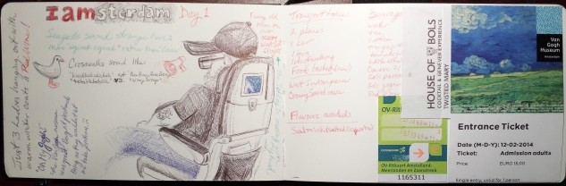 Travel journal beginnings, ballpoint pen and collage.