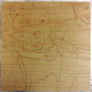 Work in progress, sketch on wood panel (Little Critter Dog Portrait)