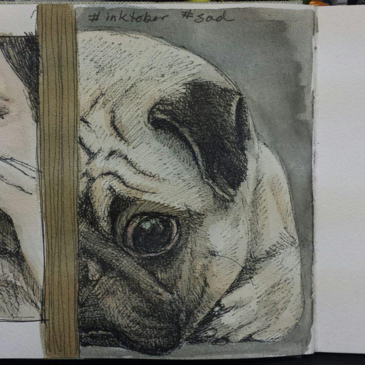 Inktober sad puppy