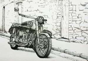 Vintage Triumph motorcycle, ink on paper.