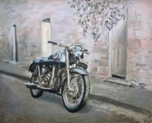 Vintage Triumph motorcycle, acrylic on canvas.