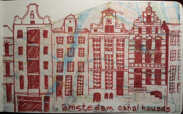 Amsterdam canal house sketch, mixed media.