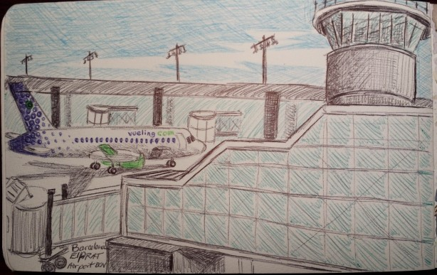 Sketch at El Prat airport, Barcelona. Ball point pen, Moleskine journal.