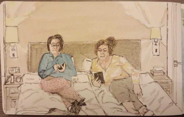 Late night sketch, Concert Hotel, Amsterdam. Watercolour  ink, Moleskine journal.