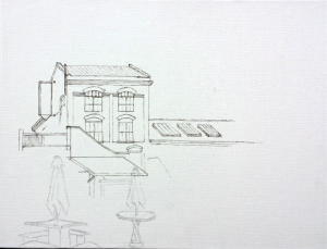 Beginning sketch of Canoe Brewpub
