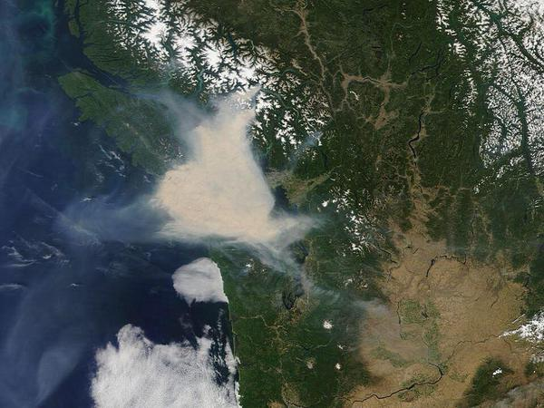 Satellite photo of smoke covering lower Vancouver Island from a forest fire.