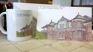 My sketch of the Cridge Centre for the Family made into note cards & mugs.
